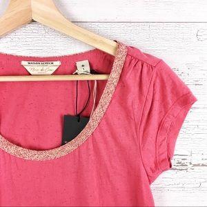 MAISON SCOTCH & SODA Pink Cap Sleeve Tee Shirt